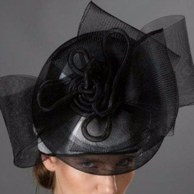 SS9001-Black and white ladies hats for kentucky derby - SHENOR COLLECTIONS