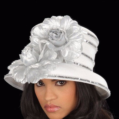 SG5021-Straw Hat White silver flowers and trim - SHENOR COLLECTIONS