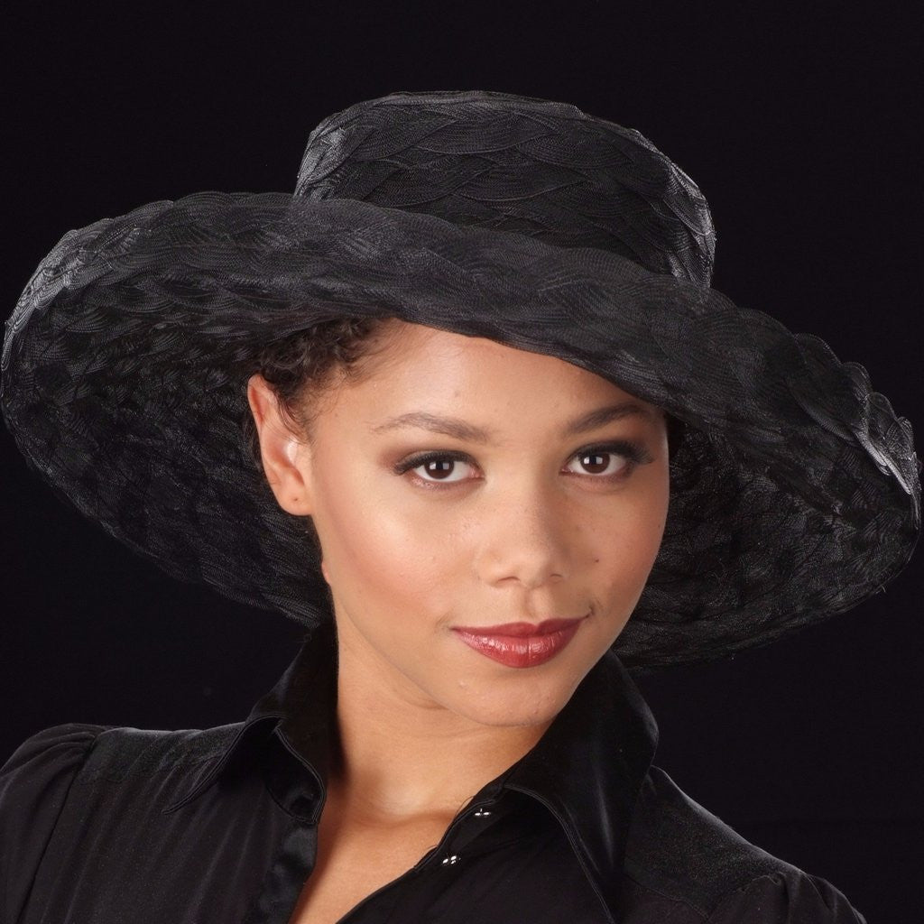 black wide brim women's dress hats, sinamay straw