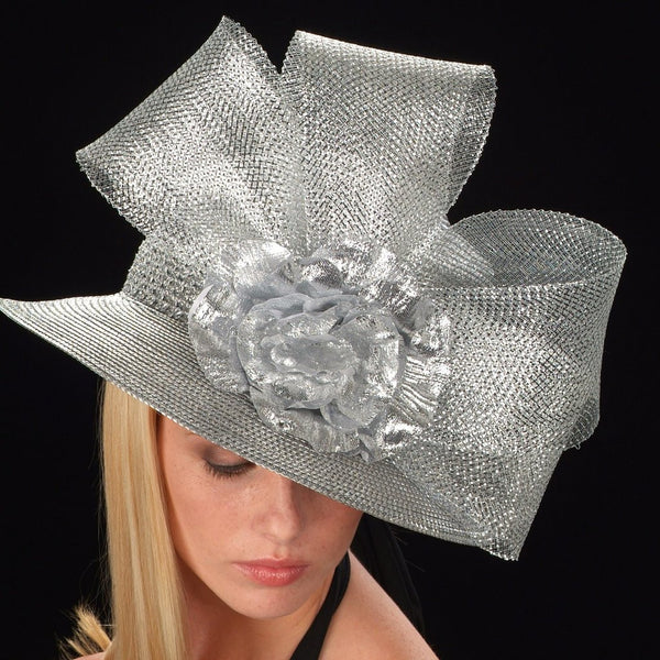 SG5019-Ladies straw Hat Silver Horse hair / silver flower - SHENOR COLLECTIONS
