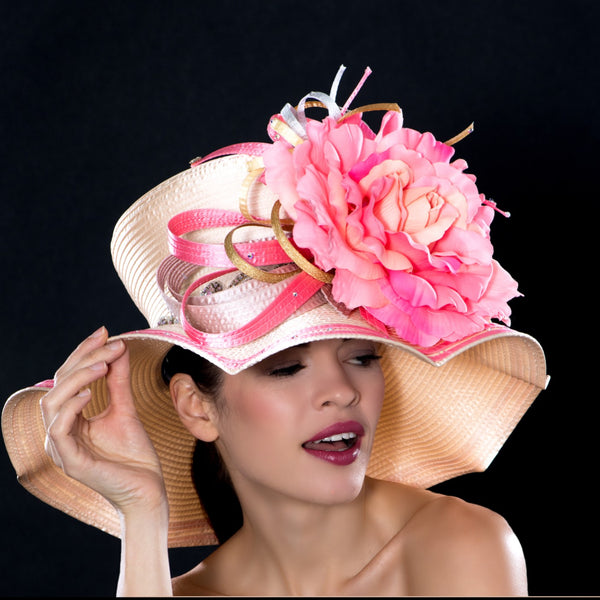 NA10146- Kentucky derby style fashion hat with x large flowers