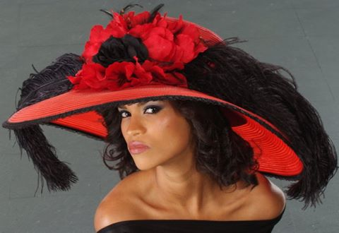 AC-7038- Wide brim red straw ladies dress hat - SHENOR COLLECTIONS