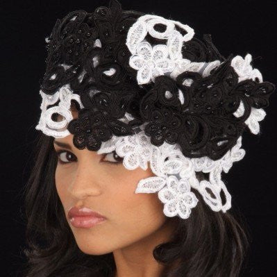 BW2436- Ladies straw Hat Black/White hand beaded lace