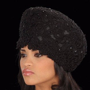F3004-Straw Hat Black or White covered with hand beaded lace