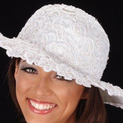 W6006-White wedding straw hat covered with hand beaded fabric