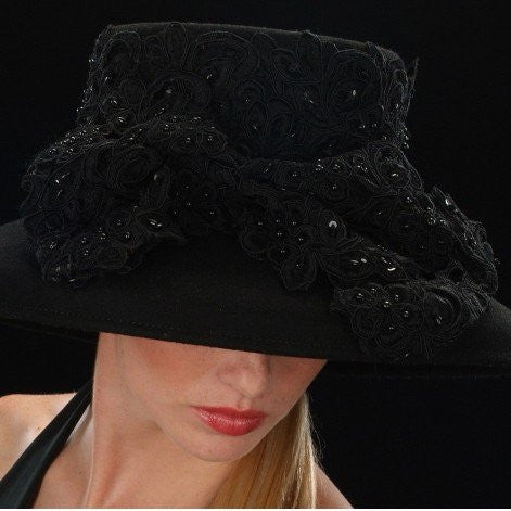 FW1110-Felt Hat black fabric sequin beaded lace sequin bow - SHENOR COLLECTIONS