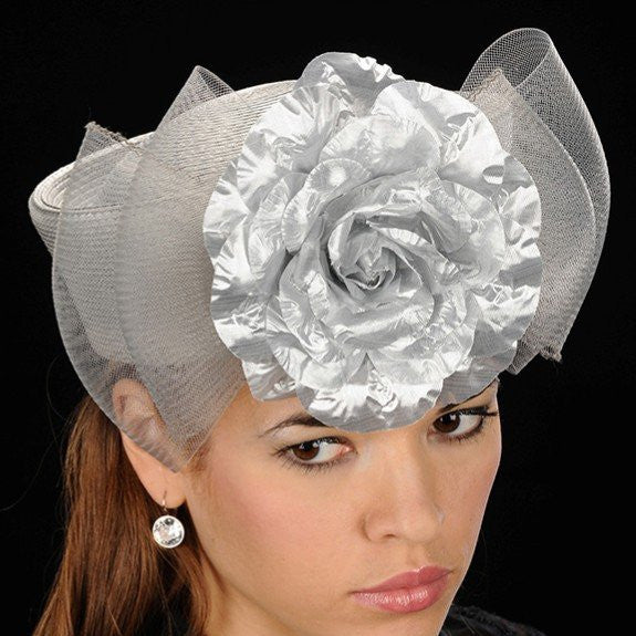 SG5006-Silver pill box with horse hair and flower dress hat - SHENOR COLLECTIONS
