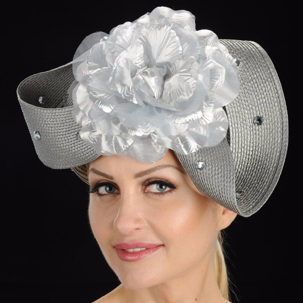 Shenor Collections. Gray church straw hat for women with large flower RS.  Color. Silver 36edab7038ca