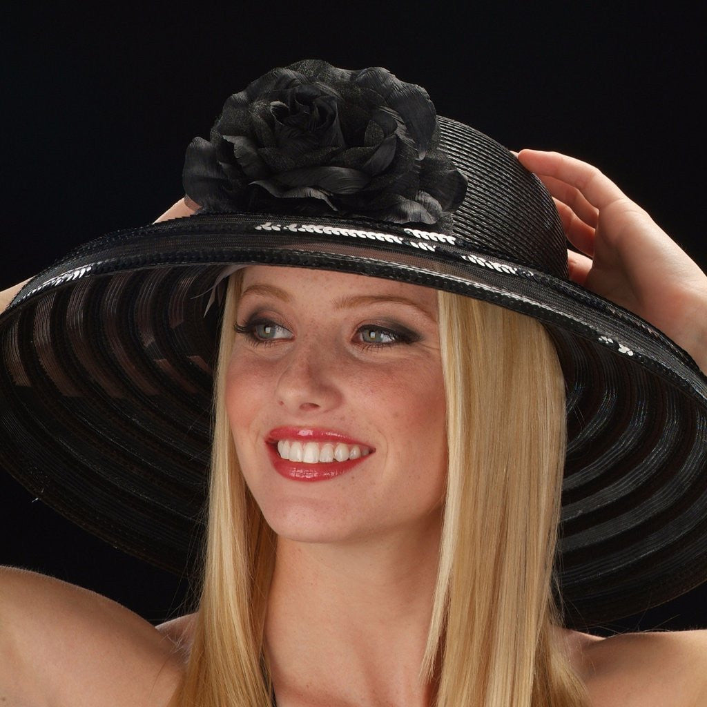 NA1042 Black straw with flowers and sequins trim dress hat