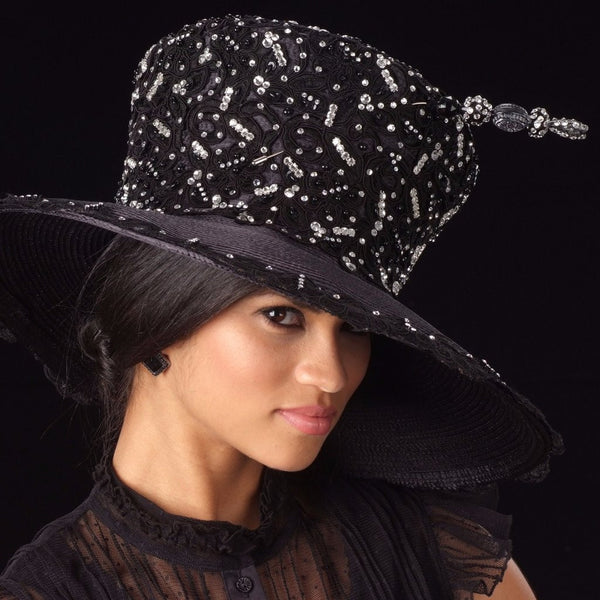 OE-8011-Year round ladies satin dress hat with lace and rhinestones - SHENOR COLLECTIONS