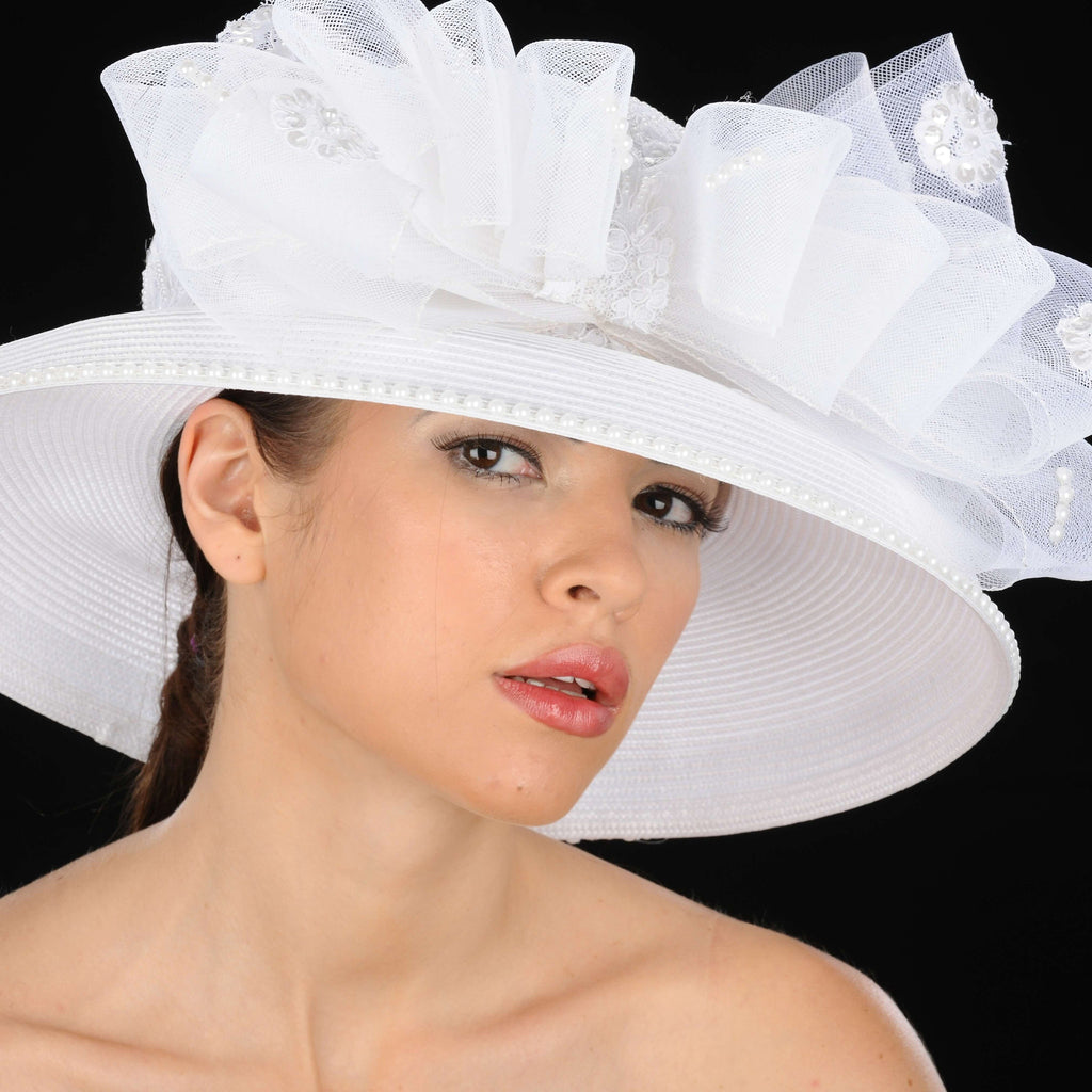 BW-9035 White ladies Straw with horsehair and rhinestones - SHENOR COLLECTIONS