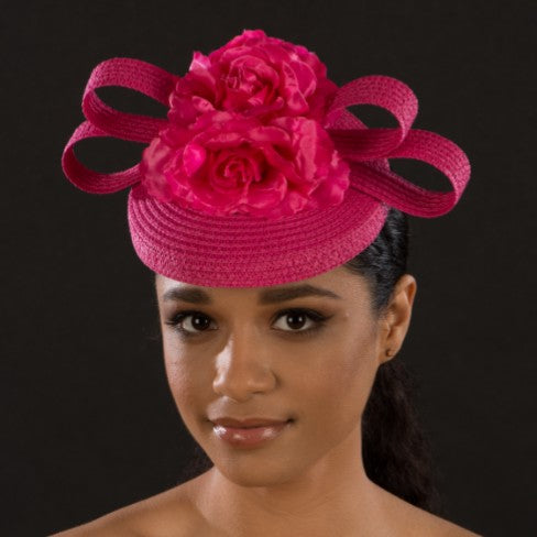 F6029-Ladies beautiful hot pink flower fascinators - SHENOR COLLECTIONS