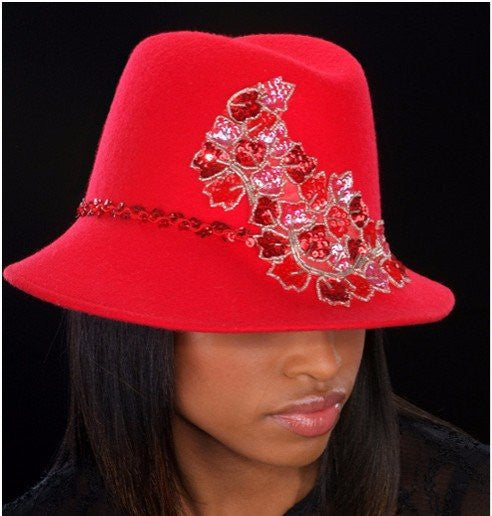 FW-56022 Red Felt Hat - SHENOR COLLECTIONS
