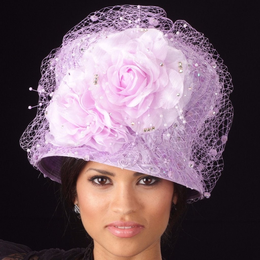 OE8008 Lavender church straw hat with rhinestones/mesh and large flower - SHENOR COLLECTIONS