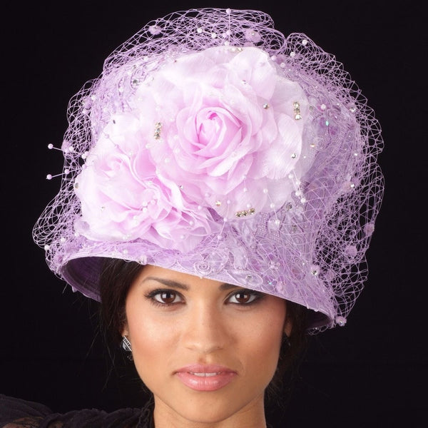 lavender church straw hats with rhinestones/mesh and large flower