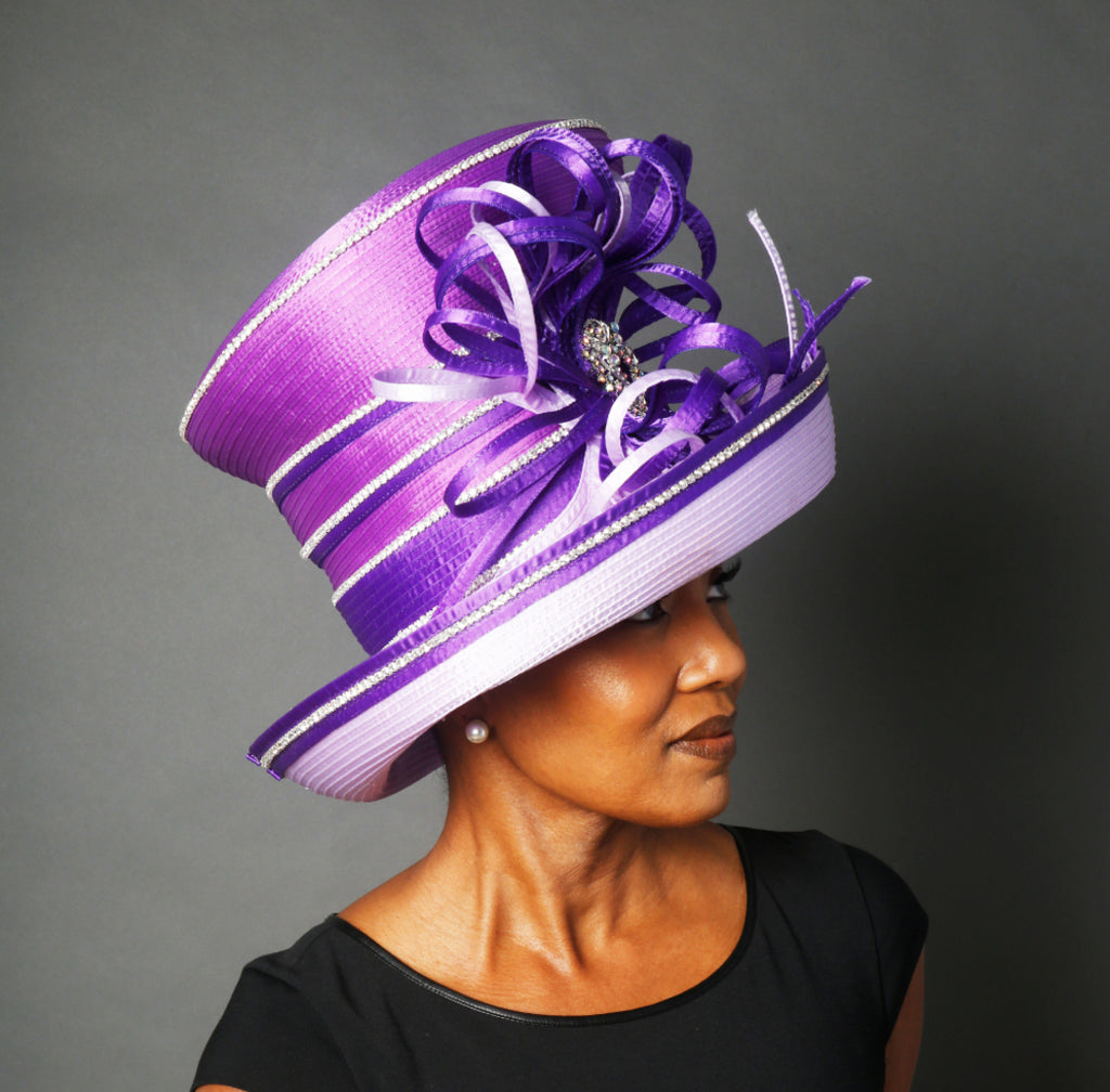 OE0020-Lavender and purple satin dress hat