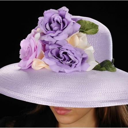 SE2004-Lavender straw with leaf trim and flowers - SHENOR COLLECTIONS