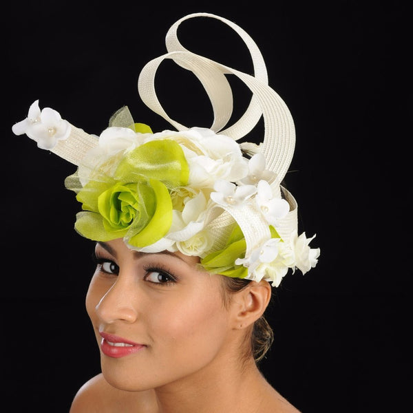 F6024 Cream straw fascinator with flowers design - SHENOR COLLECTIONS