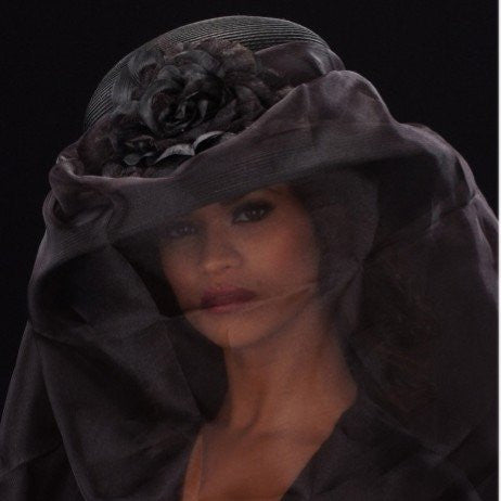 F3006-Uneven long black veil funeral straw dress hat with flower - SHENOR COLLECTIONS