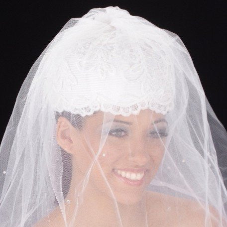 W2007-White bridal hat straw covered with hand beaded lace and long veil