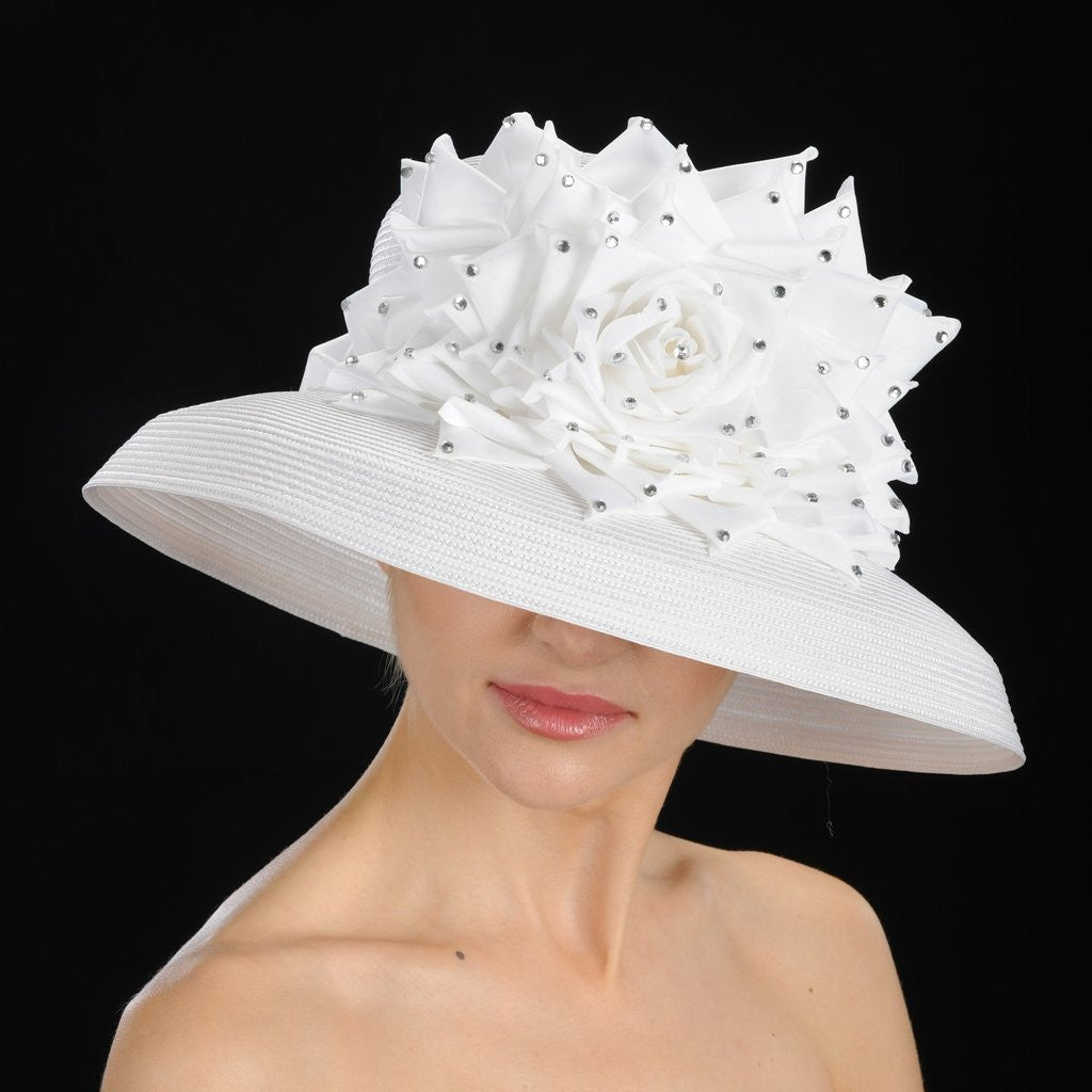 BW9013-Sunday church hat ladies in white with large flower - SHENOR COLLECTIONS