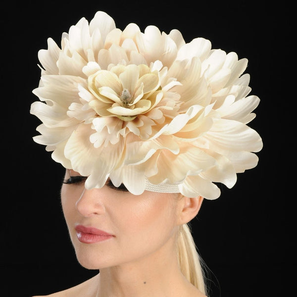 OE8004-Ivory Cream Fascinator With Large Flower - SHENOR COLLECTIONS