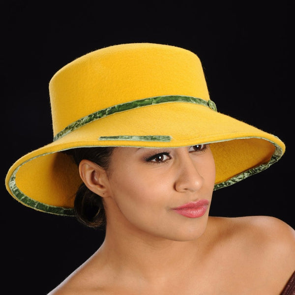 FW1130 Mustard color ladies dress felt hat - SHENOR COLLECTIONS