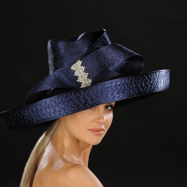Elegant wide brim ladies dress hat shenor collections for Dress hats for weddings