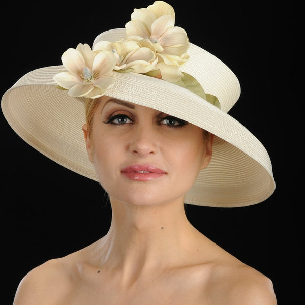W6008-Open top Spring hat for women with small flowers in light tan/cream straw - SHENOR COLLECTIONS