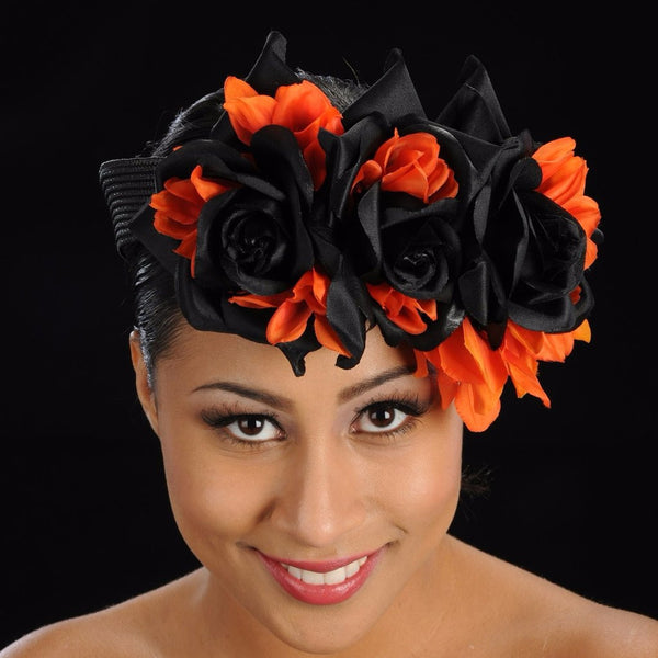 F6003-Black straw with orange and black flowers fascinator - SHENOR COLLECTIONS