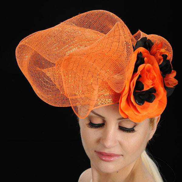 AC7022- Orange and black fascinator with flowers - SHENOR COLLECTIONS