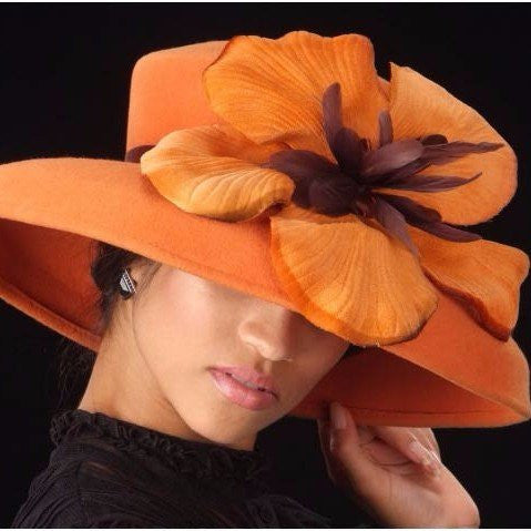 ladies dress fall winter orange hats with custom made flower
