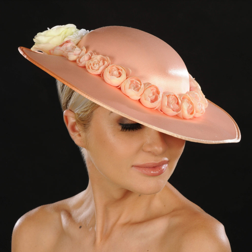 AC7034- Peach satin flower ladies dress hats
