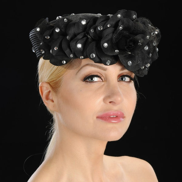 BW9008-Flower pebble black pill box dress hat - SHENOR COLLECTIONS