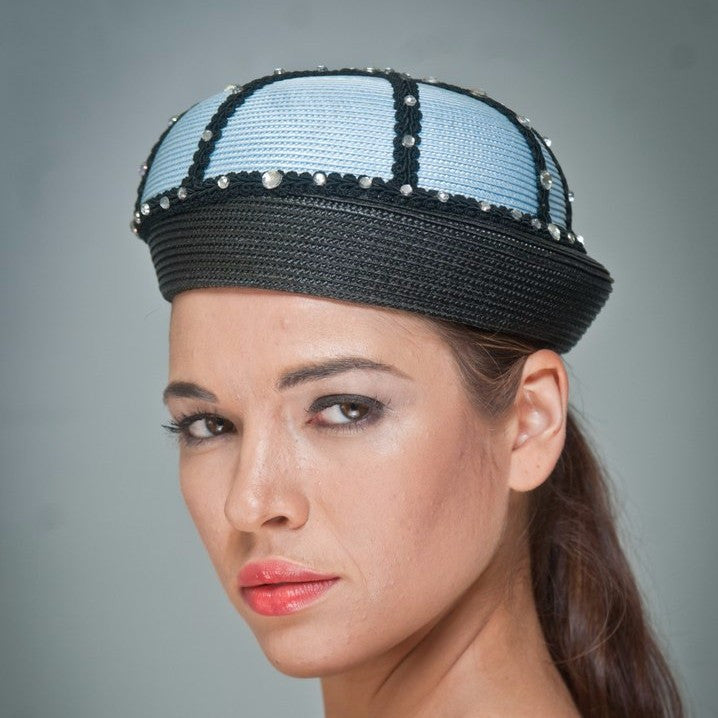 NA1030-Black/light blue straw with rhinestones