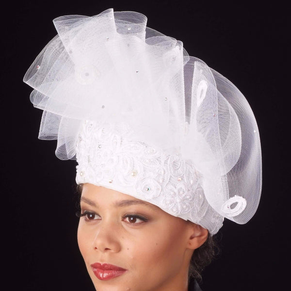 BW-9038- Pill box dress hat with lace and horse hair.