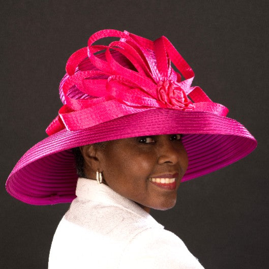 NA1071-Pink satin dress hats for women