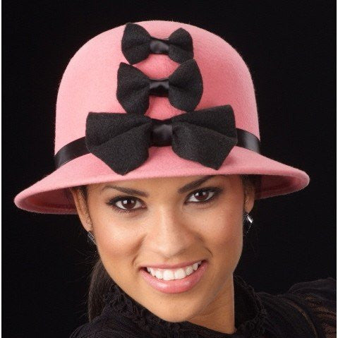 FW1108-Winter Ladies Pink Felt with bows - SHENOR COLLECTIONS