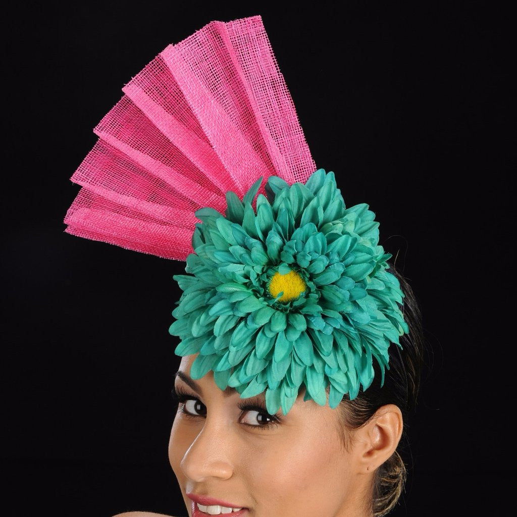 AC7018-Pink and green sinamay fascinator with large flower - SHENOR COLLECTIONS