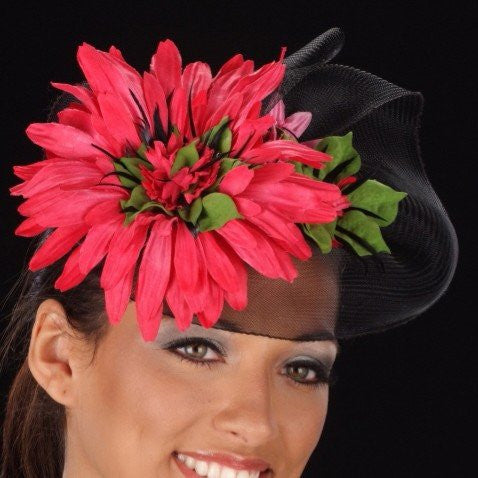 F6011-Pink flower fascinator with horsehair - SHENOR COLLECTIONS