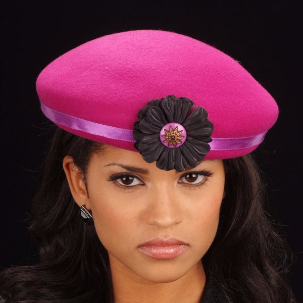 FW1134 Pillbox felt dress hat with small flower and button - SHENOR COLLECTIONS