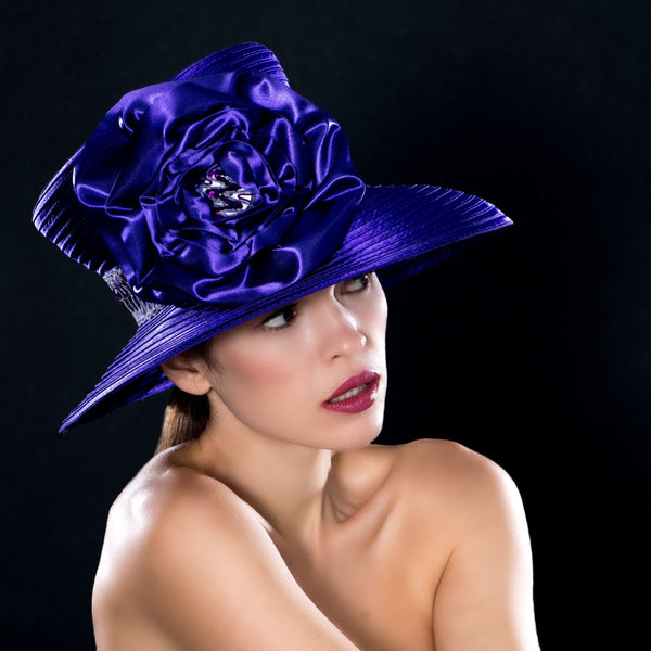 NA0044- Purple satin wide brim church dress hat with sequin trim