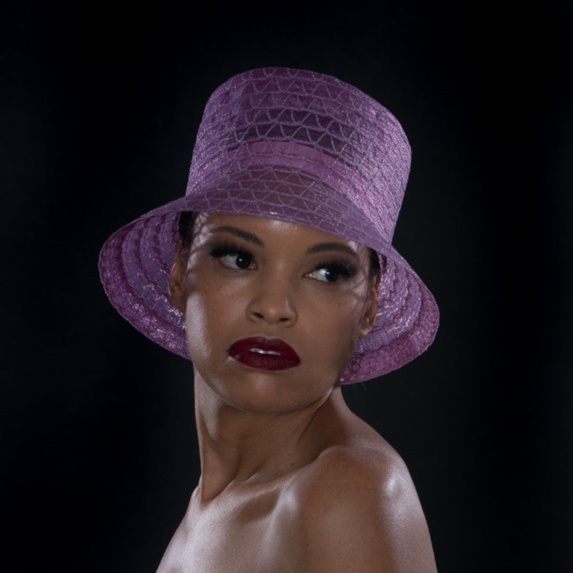 UF6023- Lavender horse hair dress hat for women