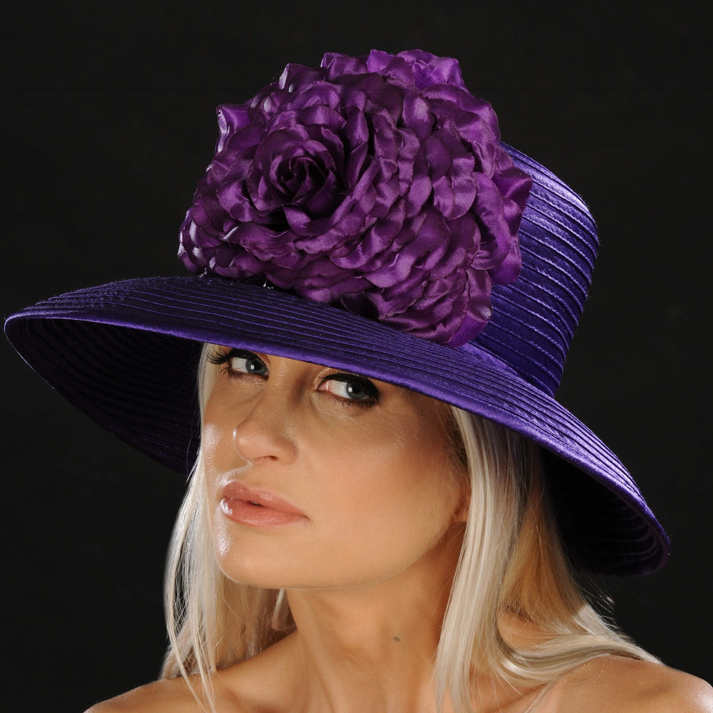 NA1056- Purple satin dress hat for ladies - SHENOR COLLECTIONS