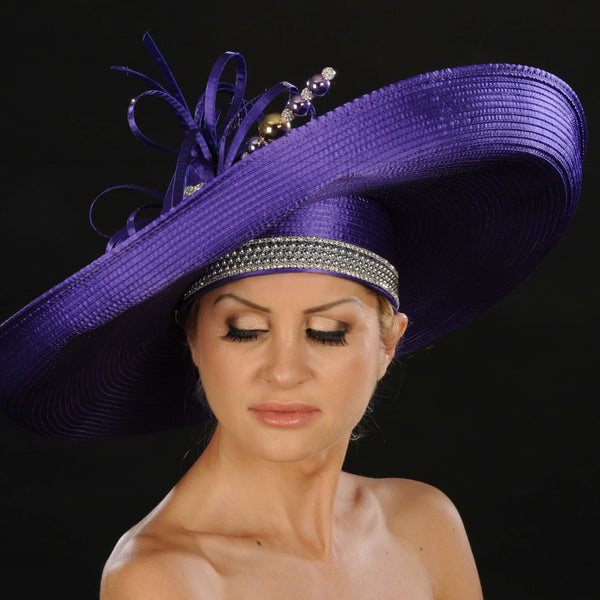 OE8014- Women's purple satin wide brim dress hat - SHENOR COLLECTIONS