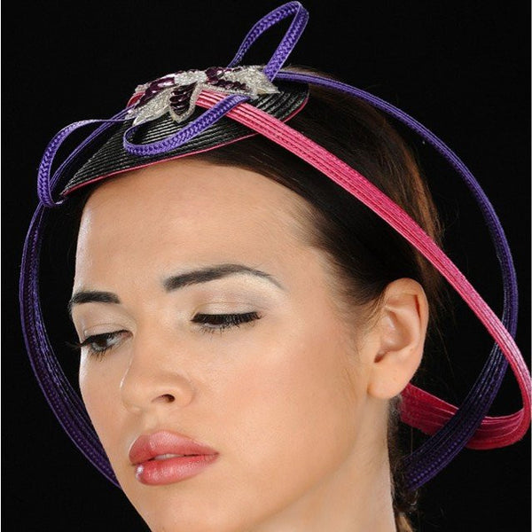 F6012-Purple and pink circle design fascinator with applique - SHENOR COLLECTIONS