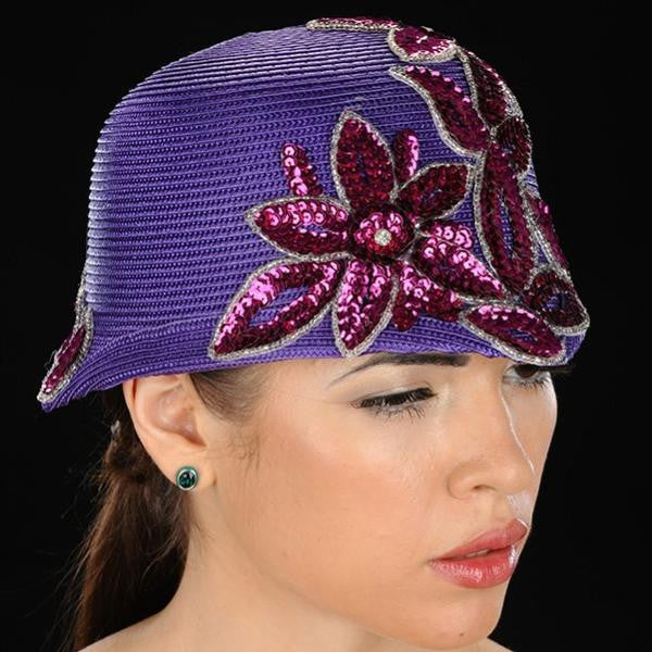 NA1025-Purple straw with sequins flower design - SHENOR COLLECTIONS