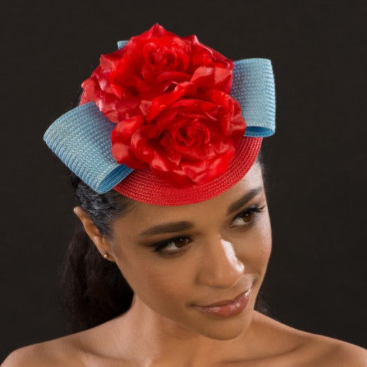 F6034-Red and blue fascinator for women - SHENOR COLLECTIONS