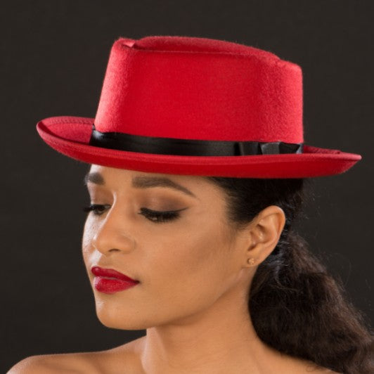 FW2232-Ladies red felt dress hat - SHENOR COLLECTIONS