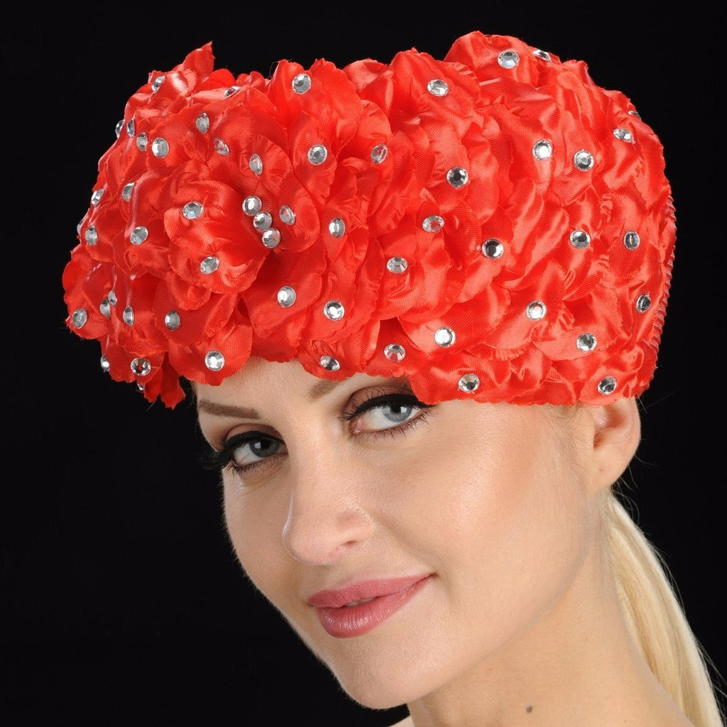 OE8006-Red pill box ladies church hat with flower pebbles and rhinestones - SHENOR COLLECTIONS